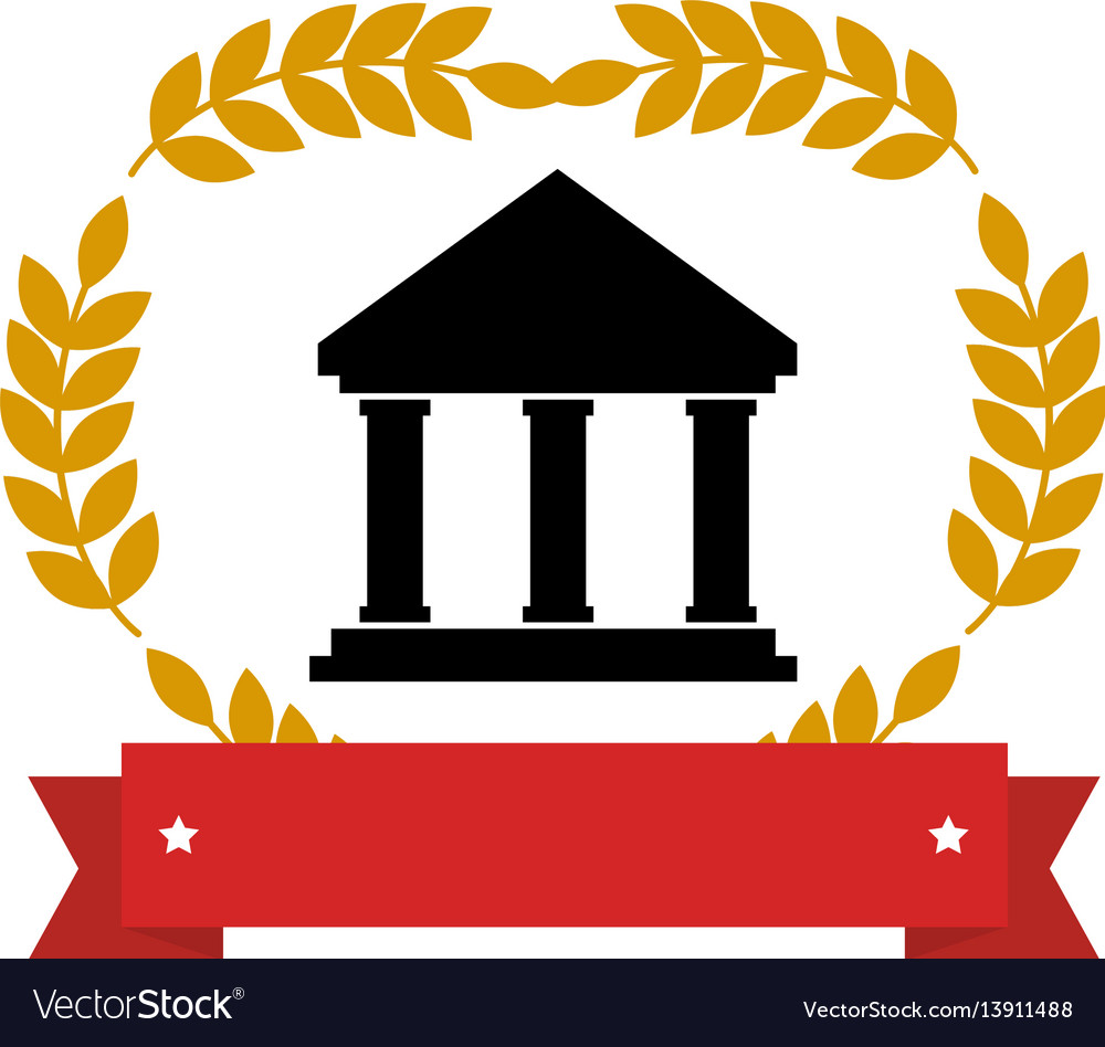 Emblem with parthenon with olive branchs and