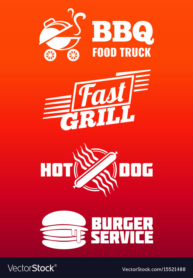 Fast food labels collection - bbq fast food and