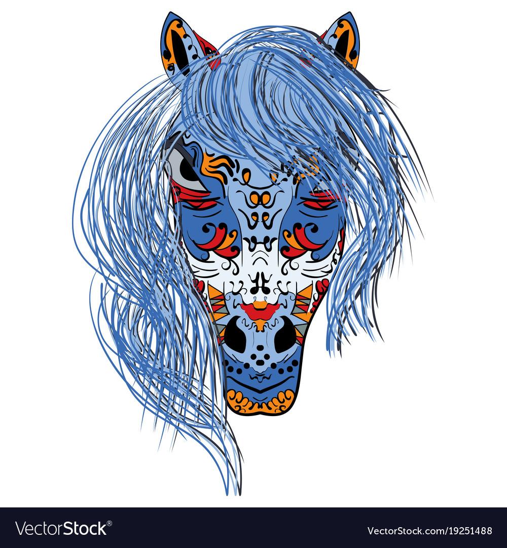 Hand drawn head horse multicolored zentangle