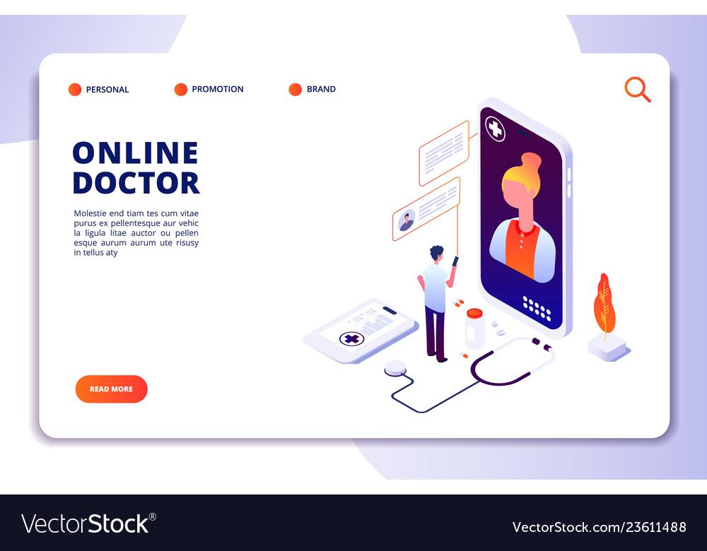 Healthcare online pharmacy isometric concept