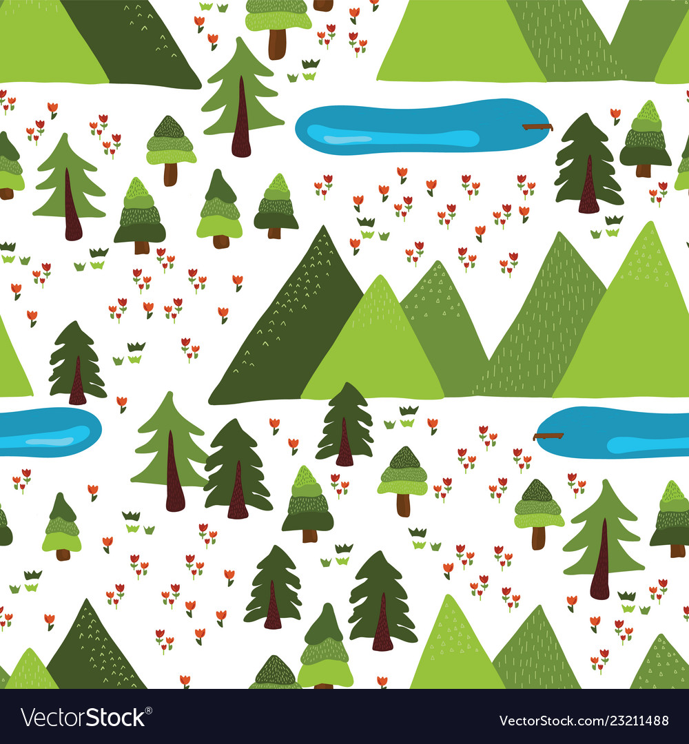 Mountain lakes outdoor scene pattern tile