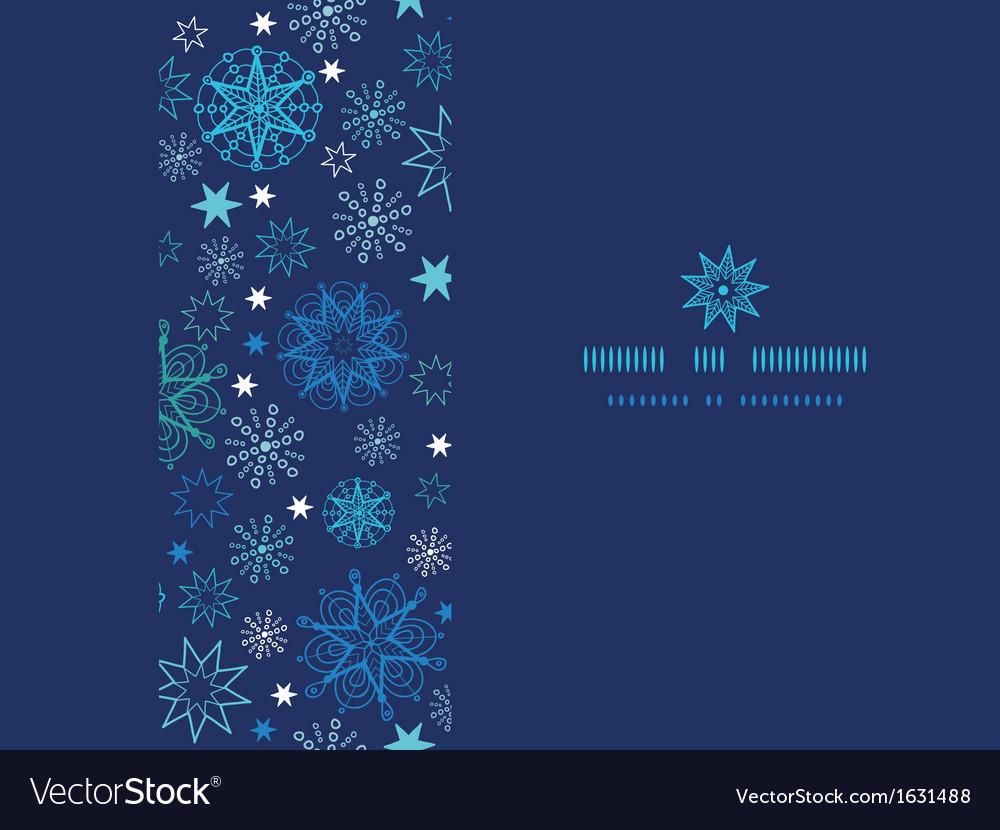 Night snowflakes horizontal frame seamless pattern