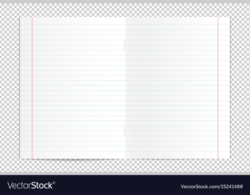 Realistic blank lined copy book spread vector image