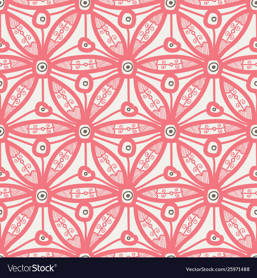 Seamless pattern design with hexagonal lace motif