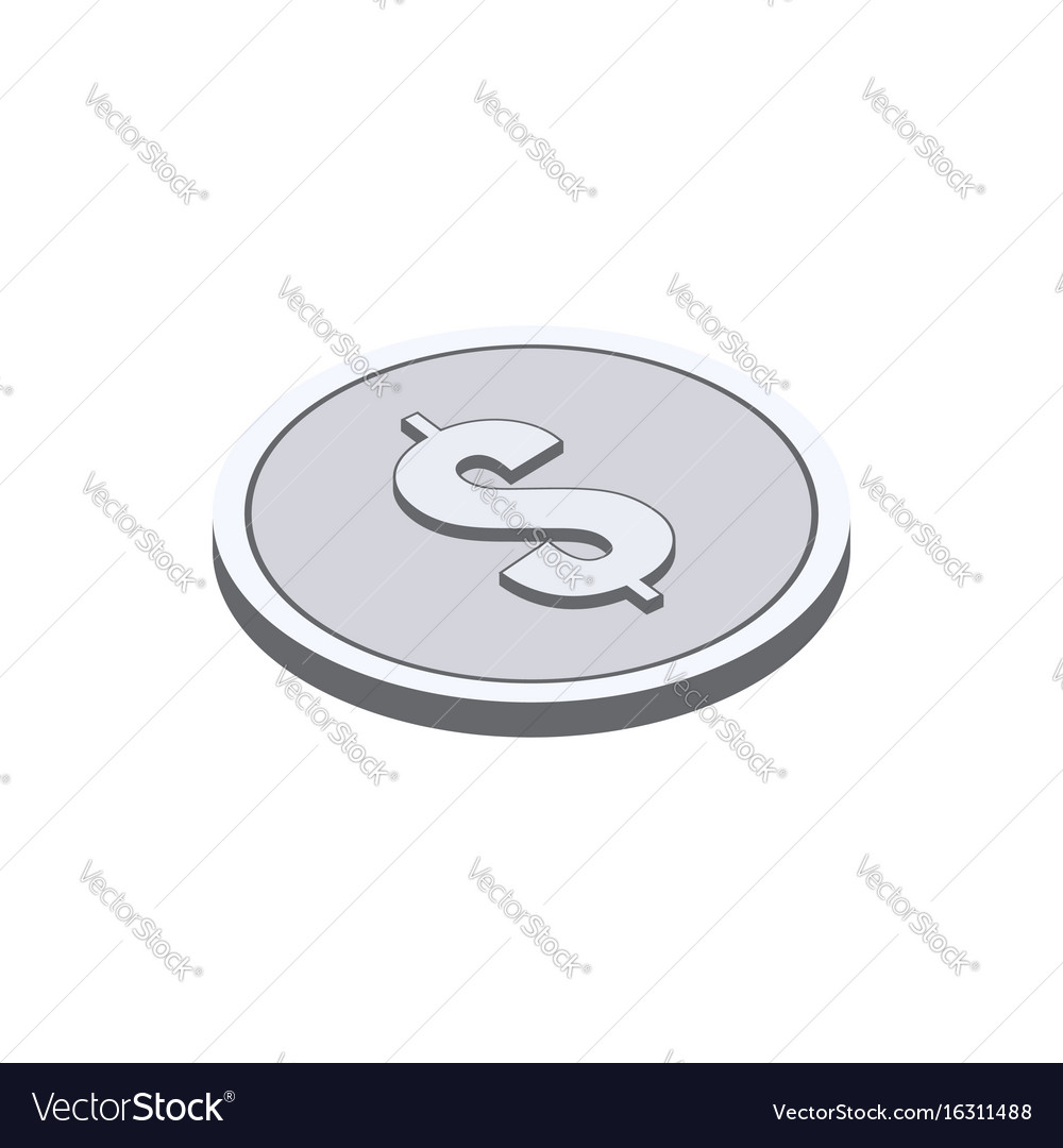 Silver coin symbol flat isometric icon or logo 3d