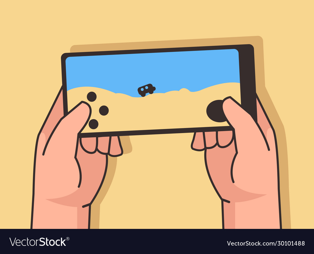 Two hand playing mobile games