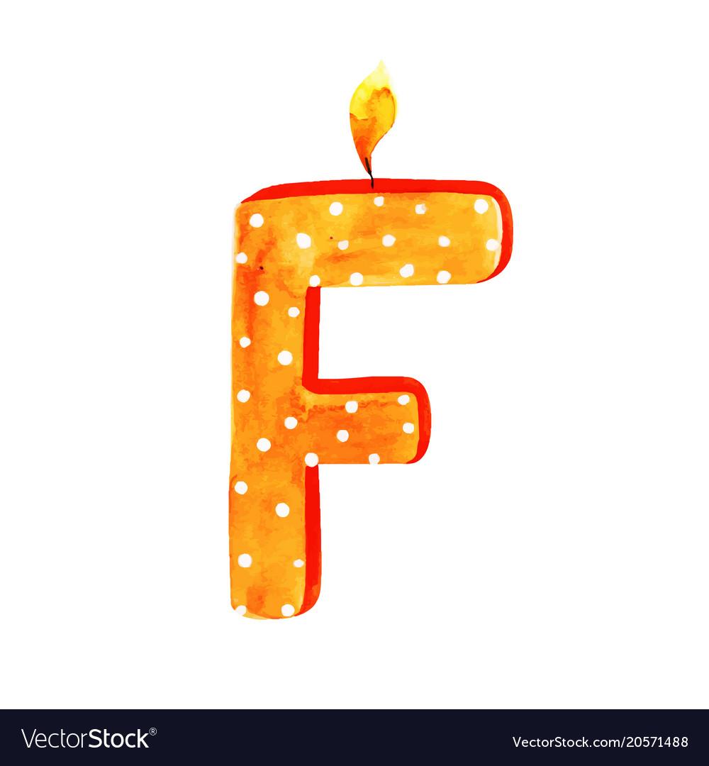 Watercolor Happy Birthday Letter F Candle Vector Image