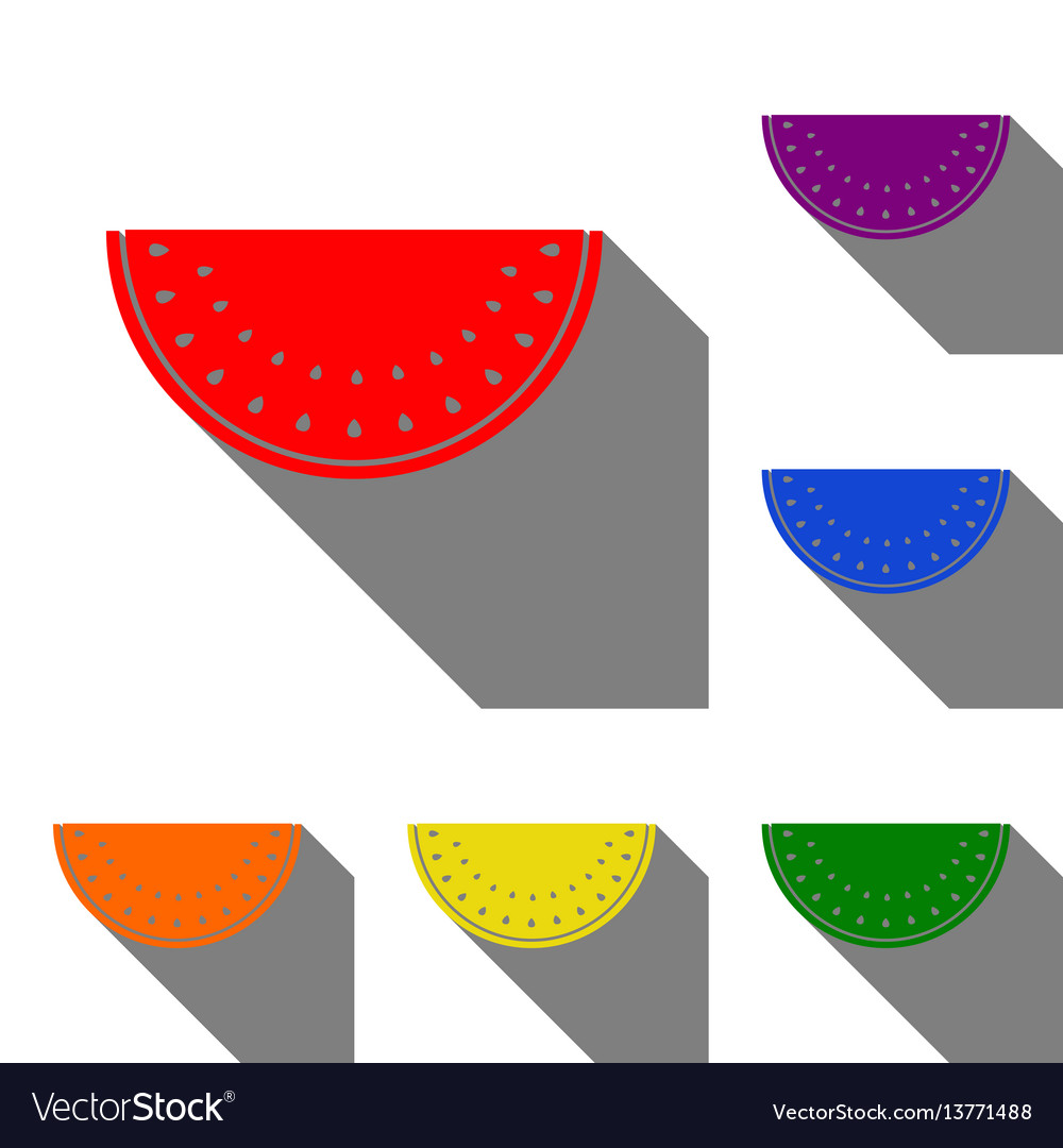 Watermelon sign set of red orange yellow green vector image