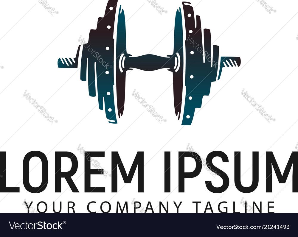 Barbell logo design concept template