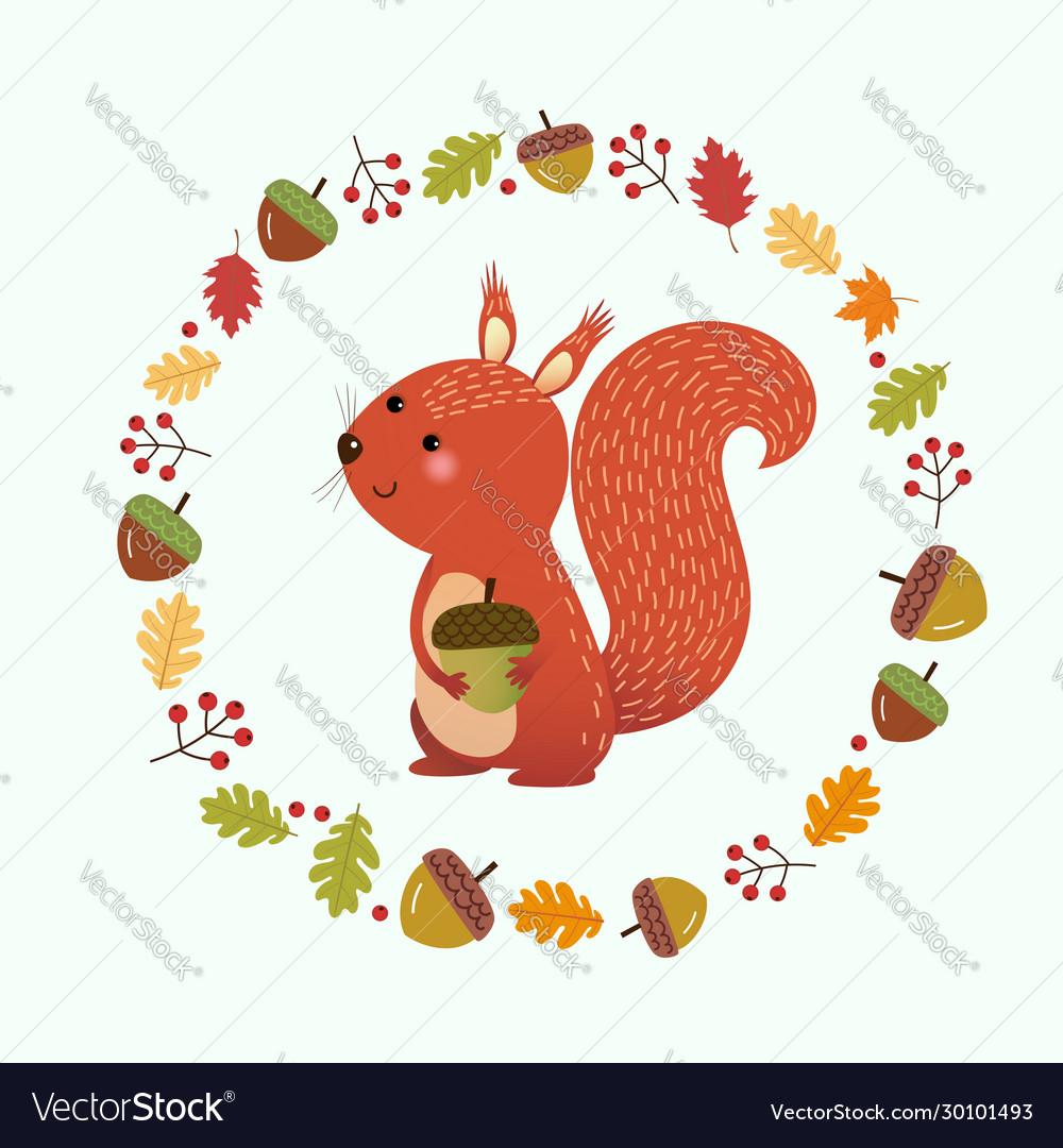 Cartoon squirrel with autumn leaves
