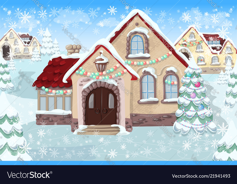 Christmas landscape with christmas tree and house