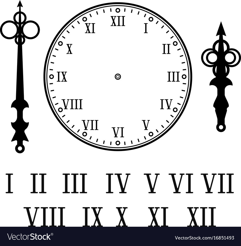clock with roman numerals with numbers hour and vector image