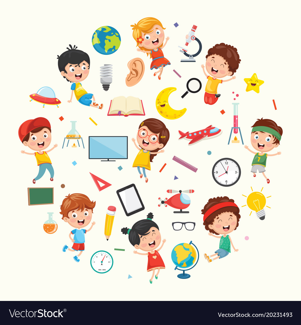 Collection Of Kids And Science Royalty Free Vector Image