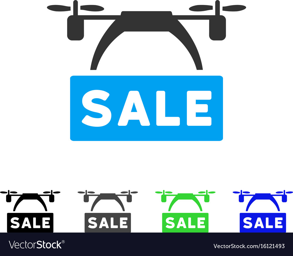 Drone sale banner flat icon vector image