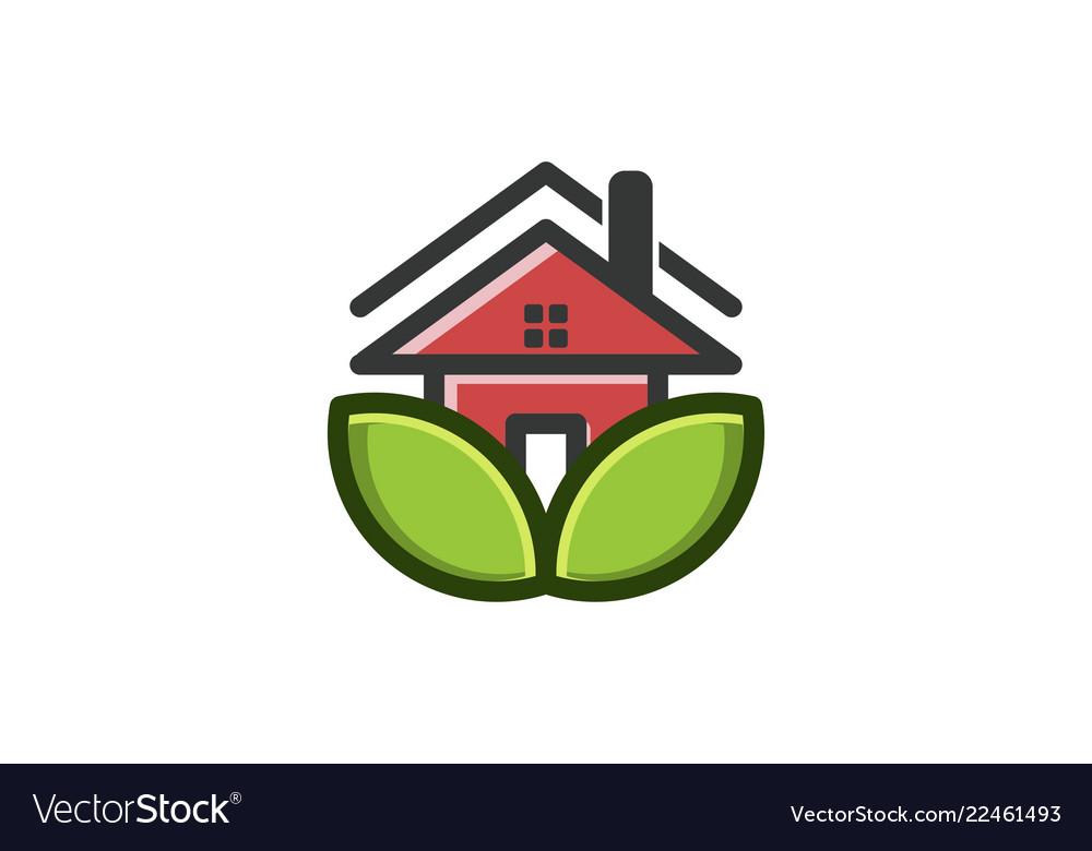 Eco house logo designs inspiration isolated on