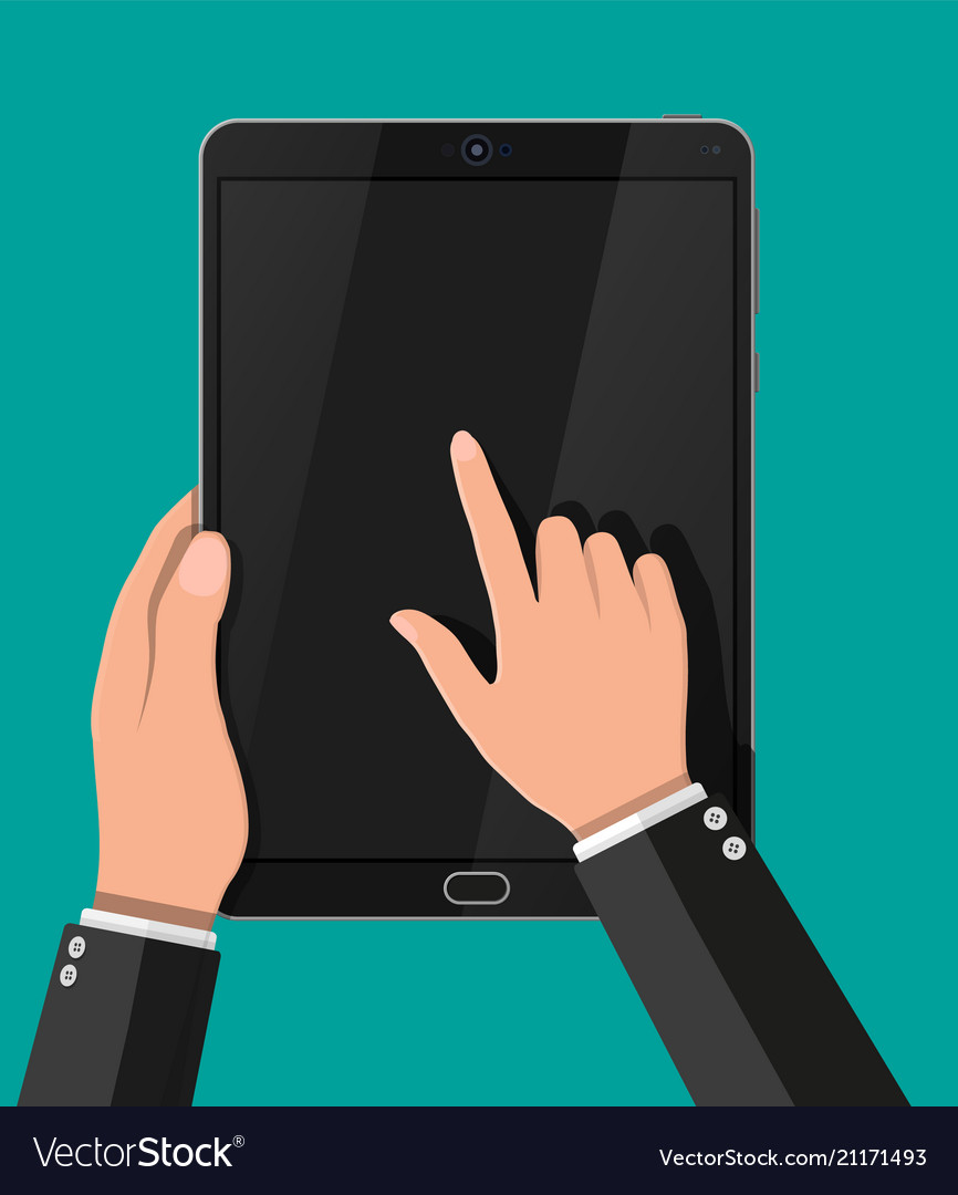 Hand touching screen of black tablet computer
