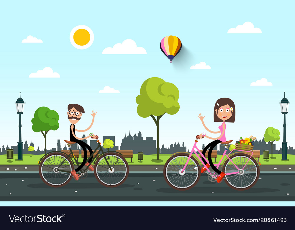 Man and woman on bicycles on road with city