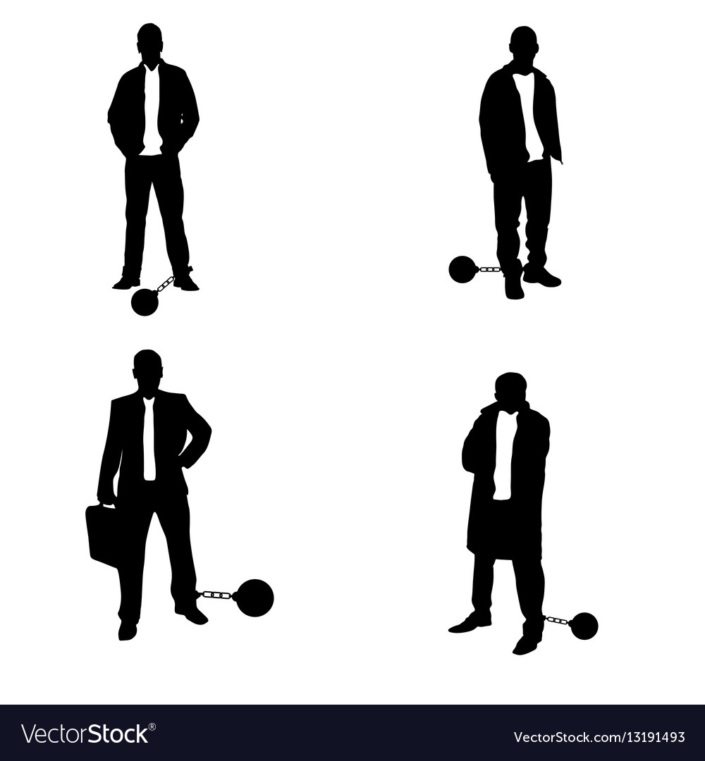 Man silhouette with prision ball in black vector image