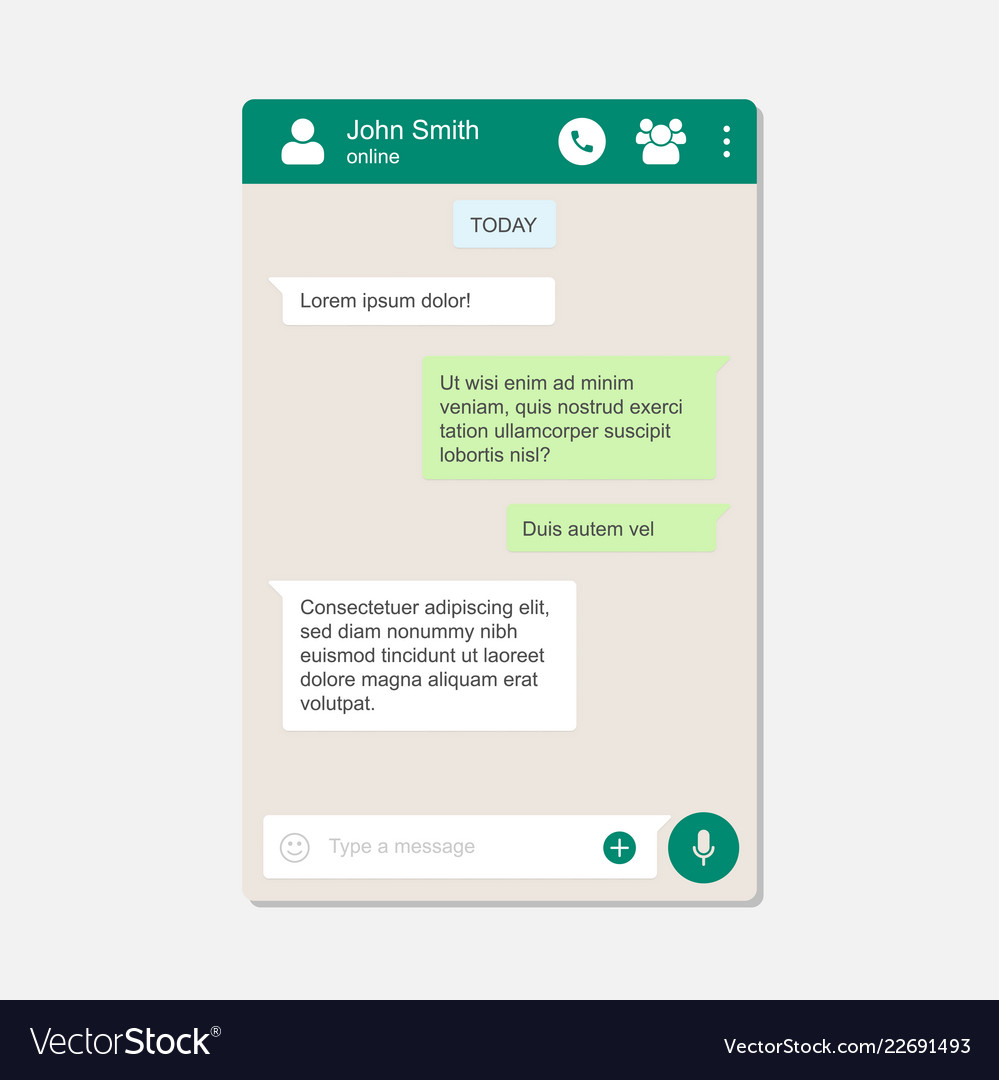 Messenger chat page flat background