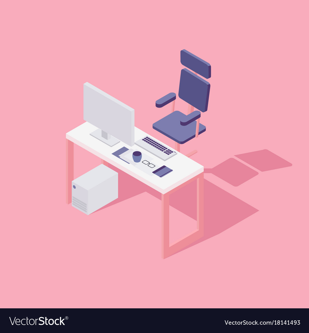 Office workspace computer chair flat isometric