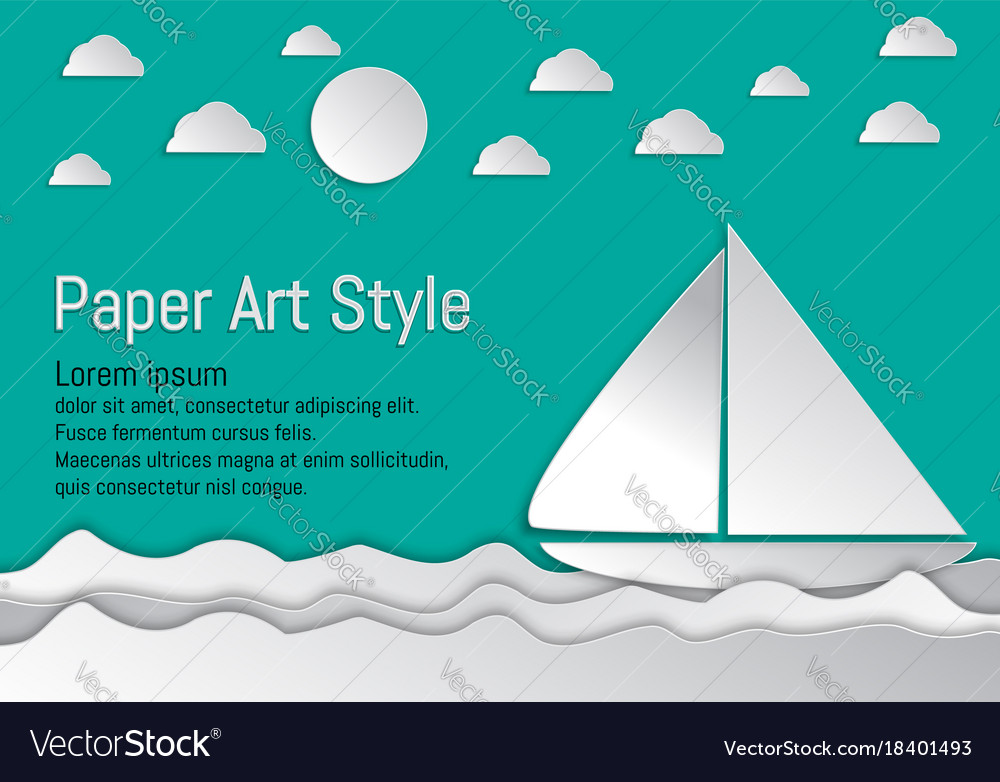 Paper art style sea and waves with sailboat and