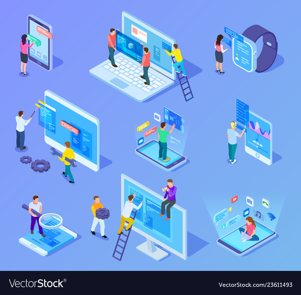 People and app interfaces isometric concept users