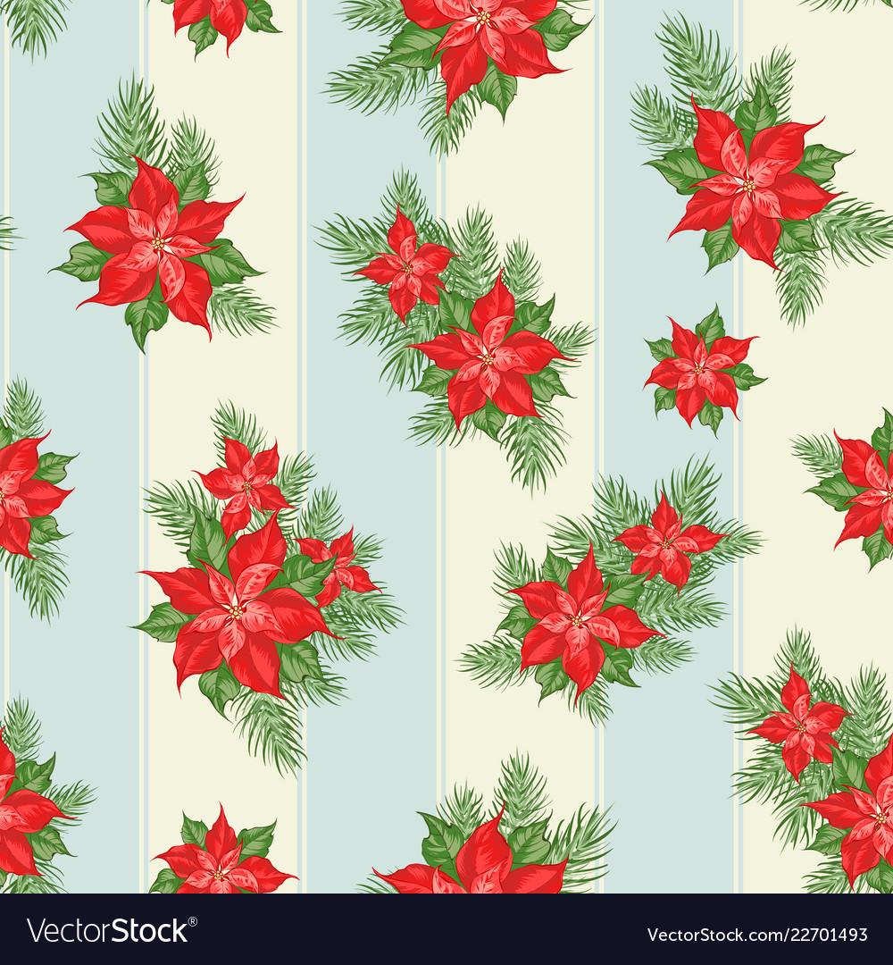 Red poinsettia flower pattern seamless christmas