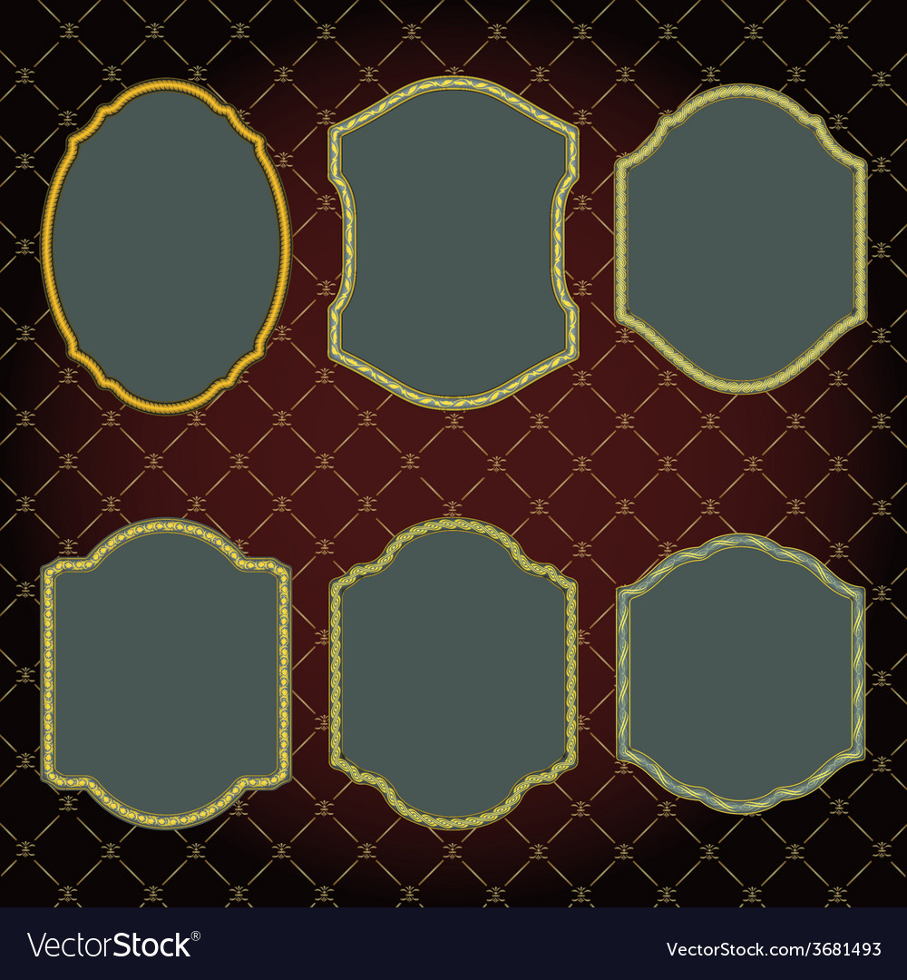 Set of design elements-golden vintage frames vector image