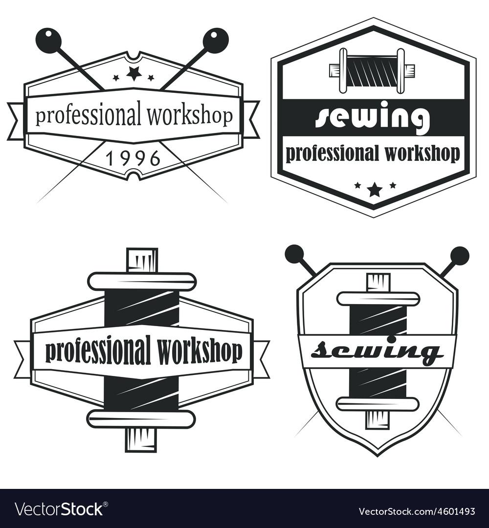 Set of vintage tailor labels emblems and designed