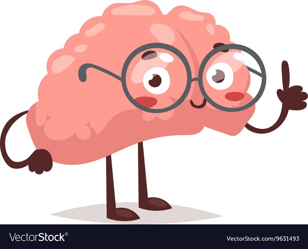 Smart brain character vector image