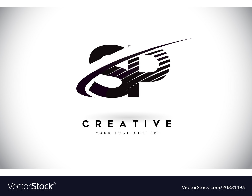 Sp s p letter logo design with swoosh and black