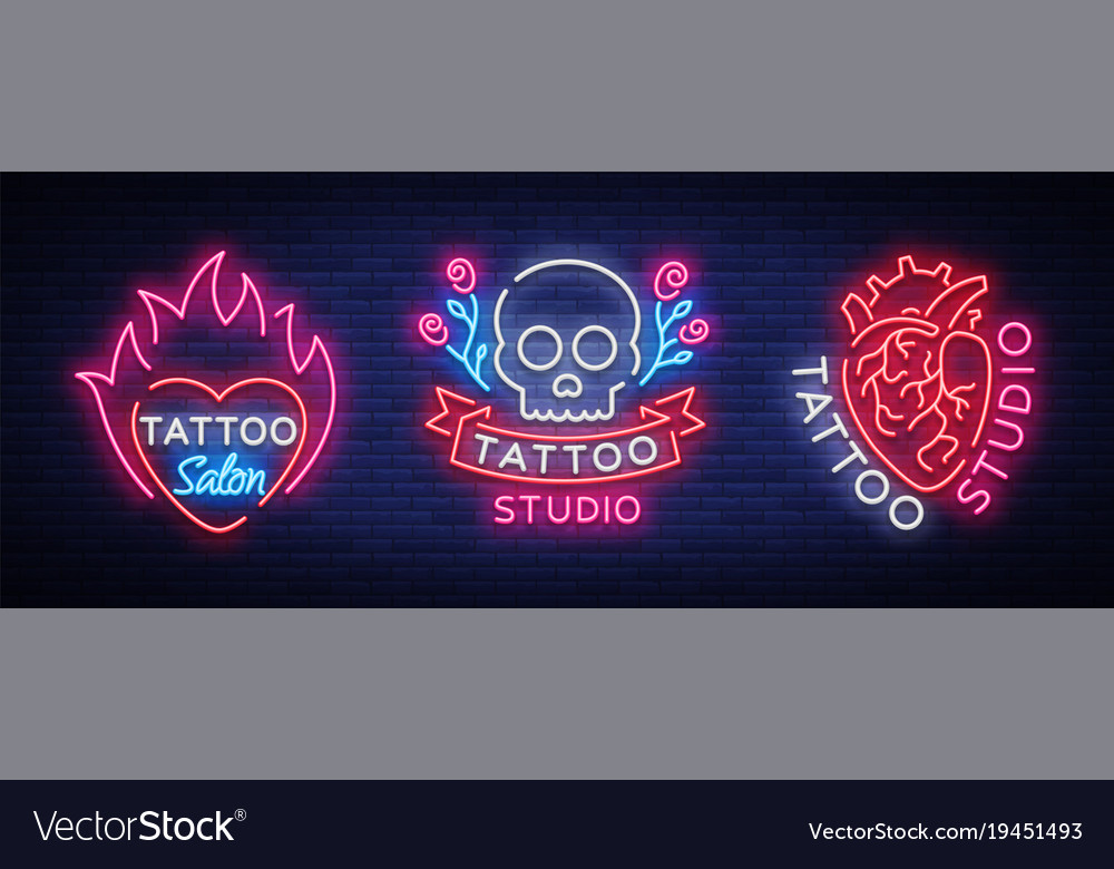 Tattoo salon set logos collection of