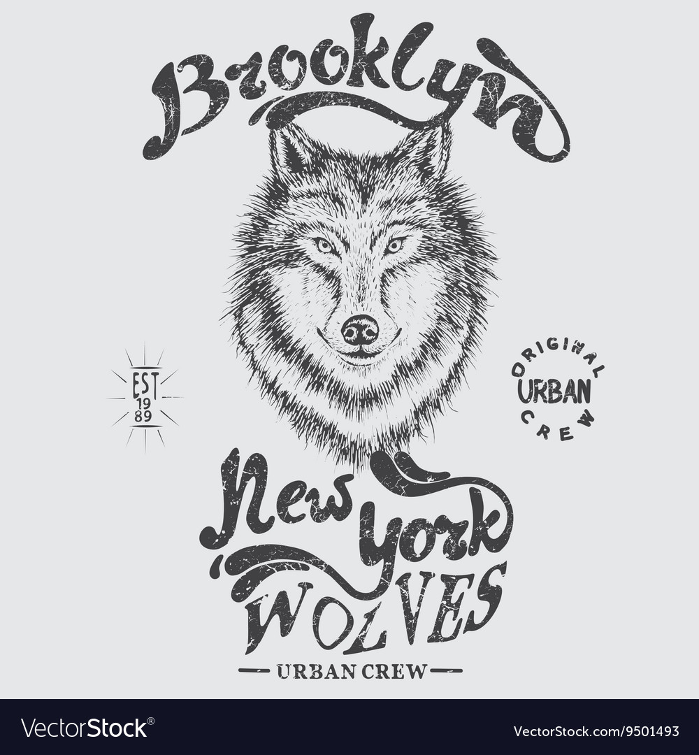 Urban graphic label with head of wolf