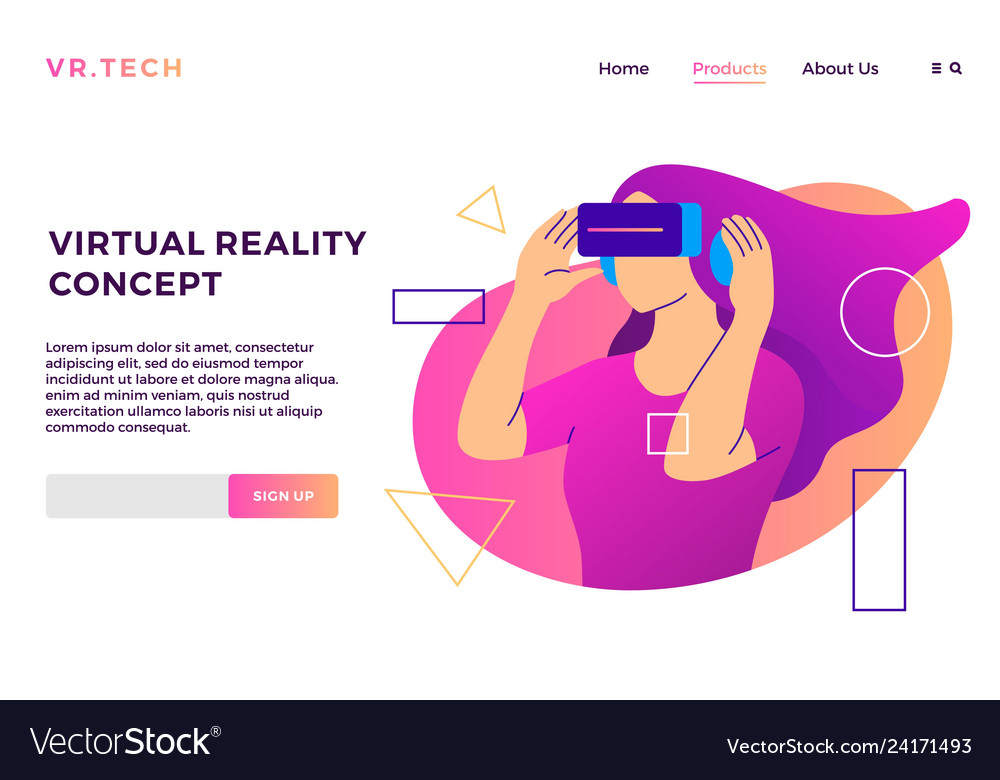 Virtual reality concept vr girl augmented glasses