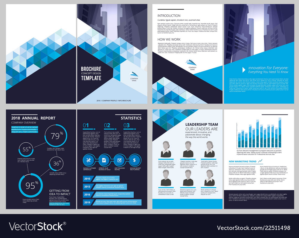 annual report template simple document financial vector image