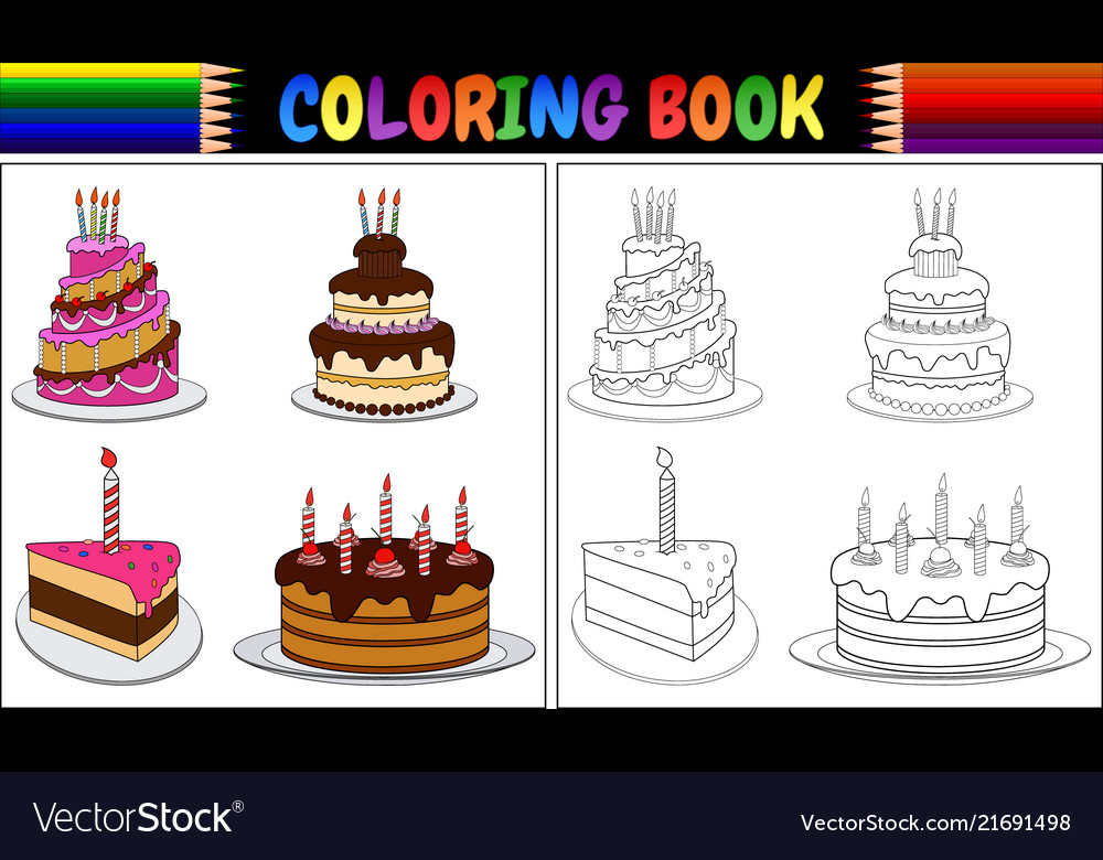 Admirable Coloring Book Birthday Cake With Candles Vector Image Funny Birthday Cards Online Alyptdamsfinfo