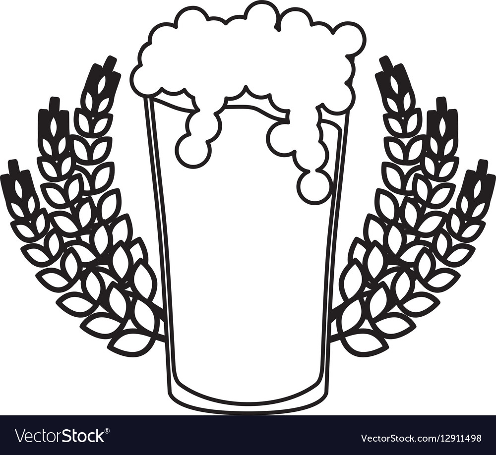 Contour beer glass with branches wheat image