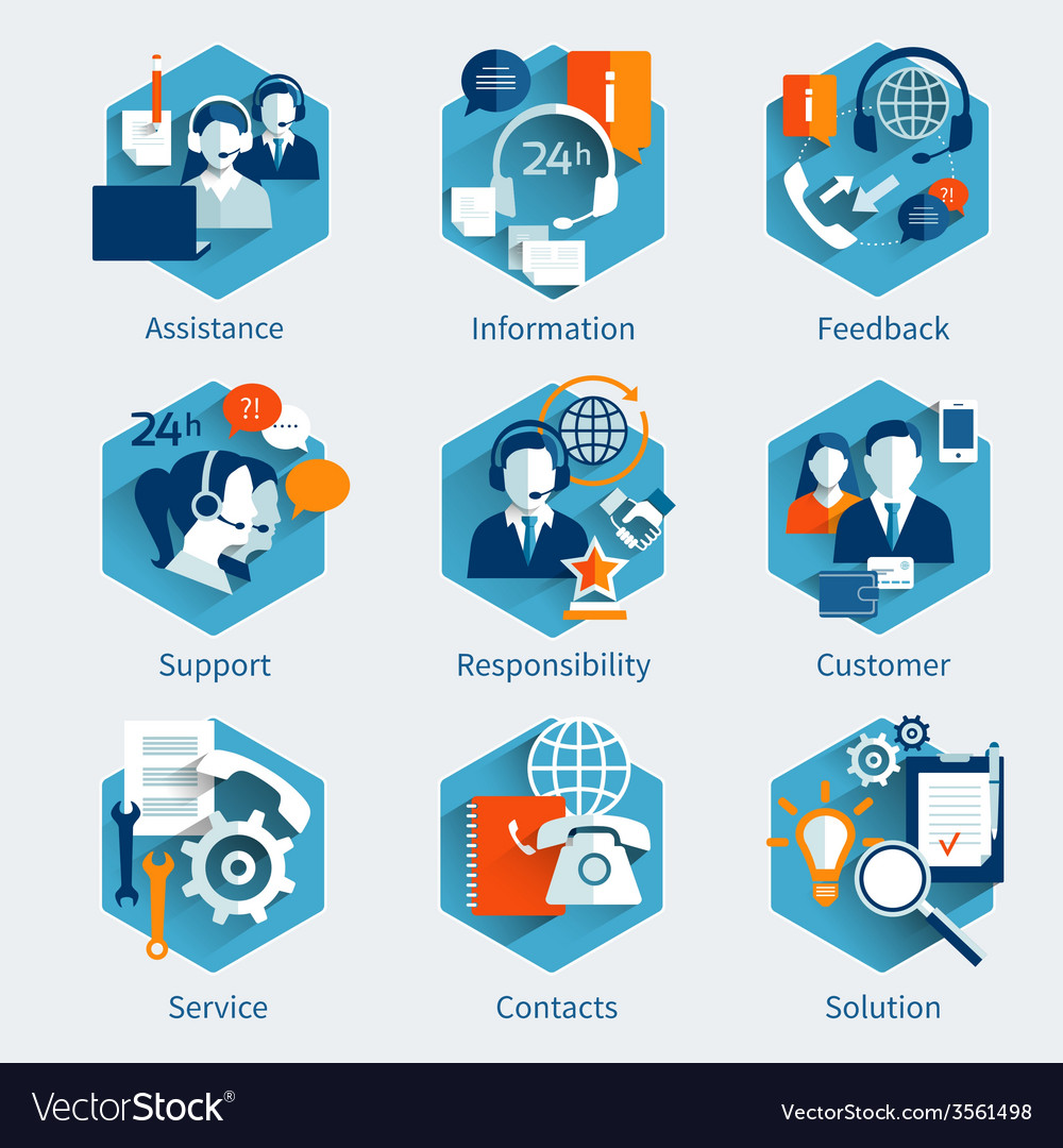 Customer Service Concept Set vector image