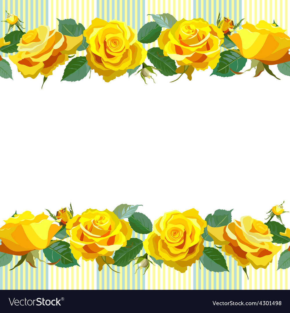 Floral Background With Yellow Roses Royalty Free Vector