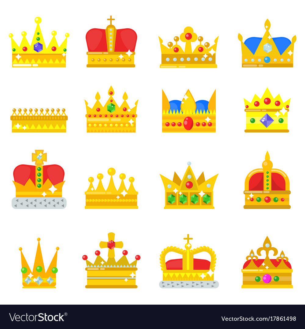 Gold crown king icons set nobility collection