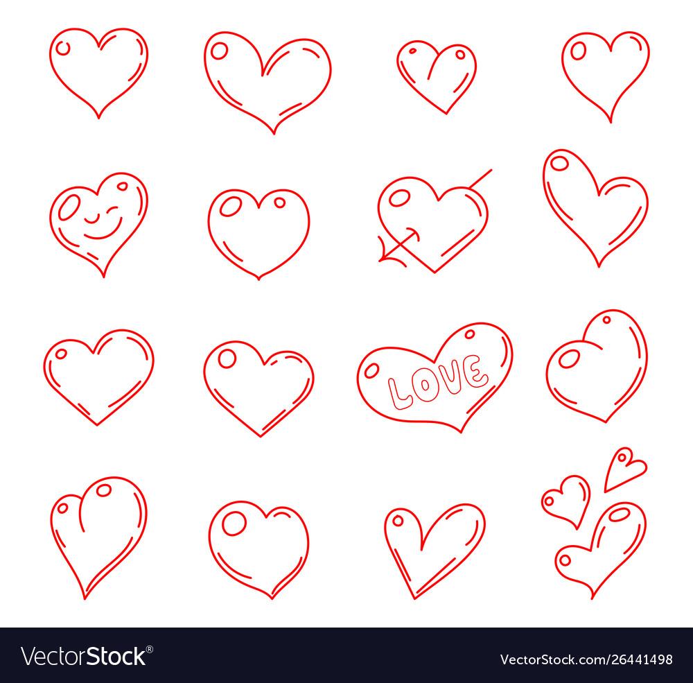Hand drawn hearts set heart