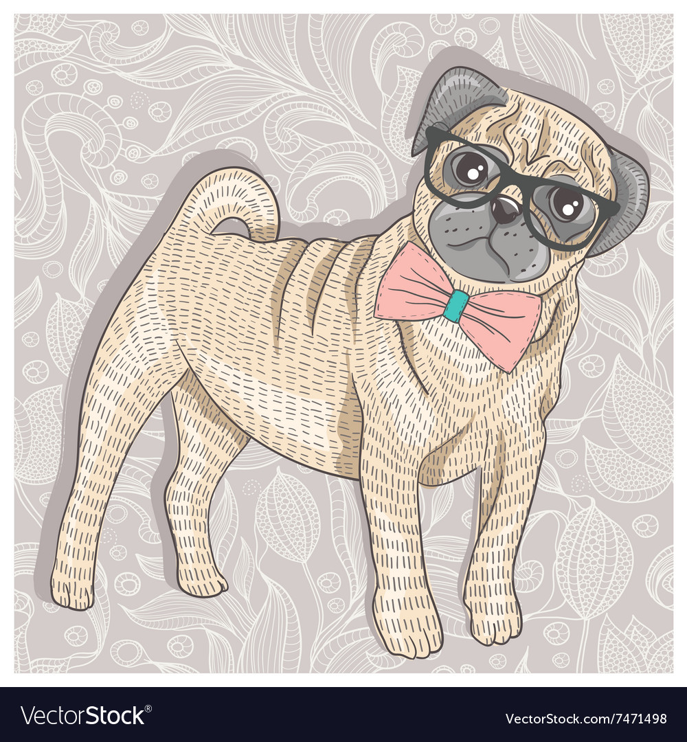Hipster pug with glasses and bowtie