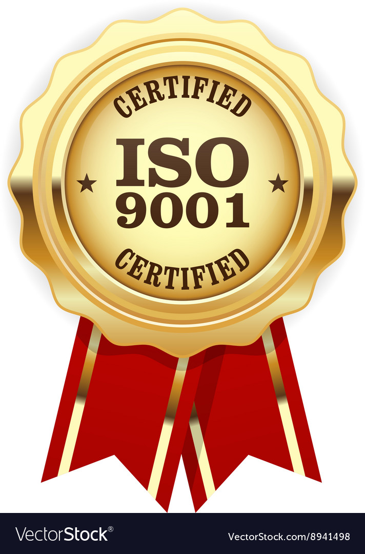 ISO 9001 certified - quality standard golden seal vector image