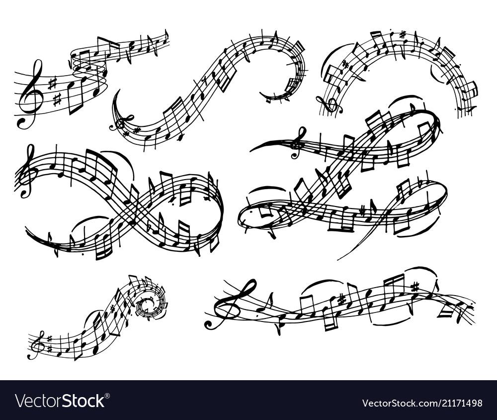Notes music melody colorfull musician symbols