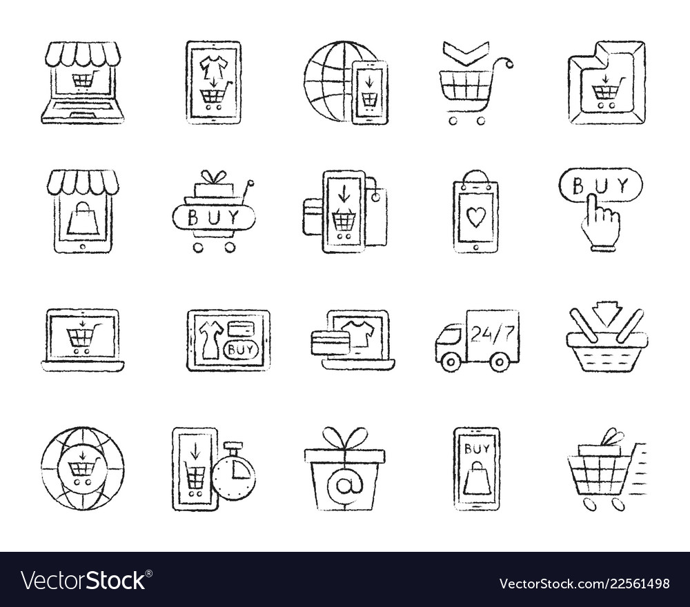 Online shop charcoal draw line icons set