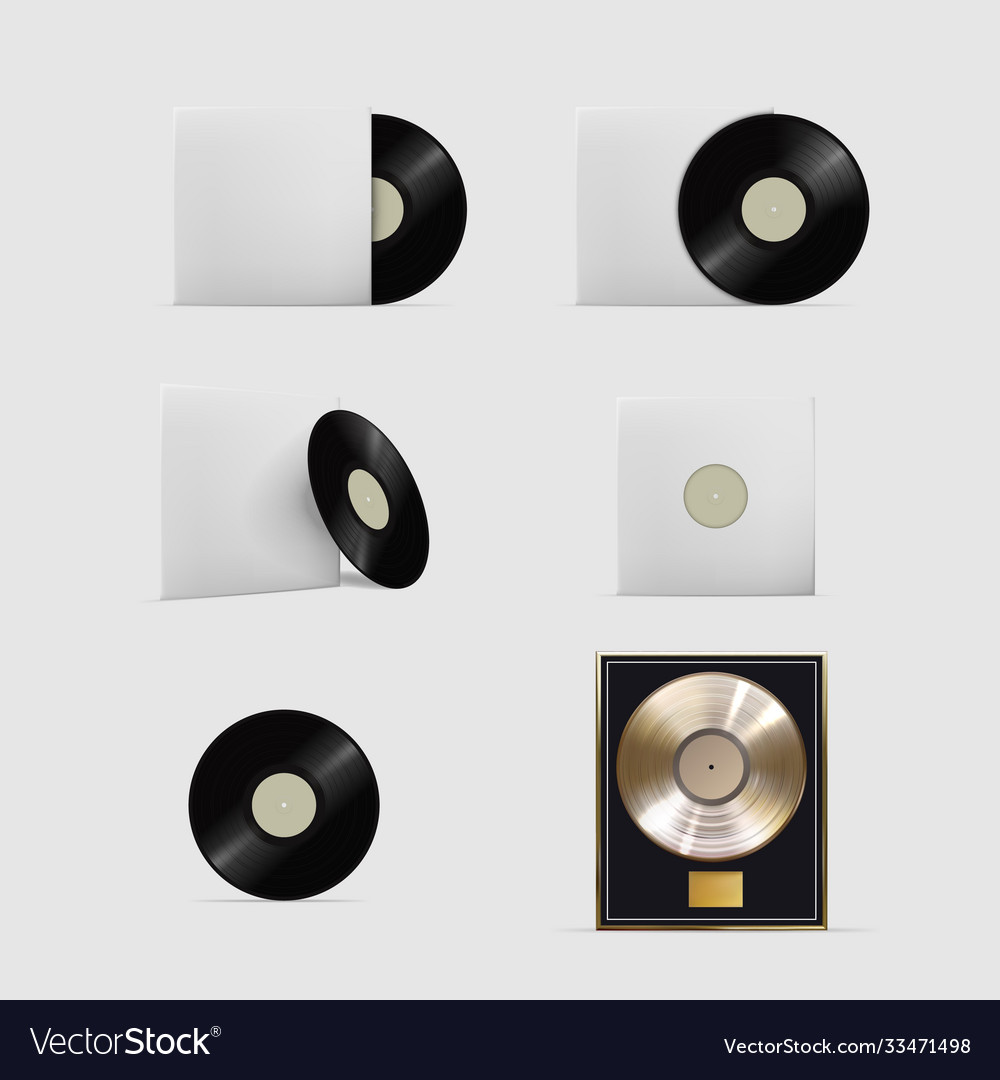 Realistic vinyl records isolated set on white