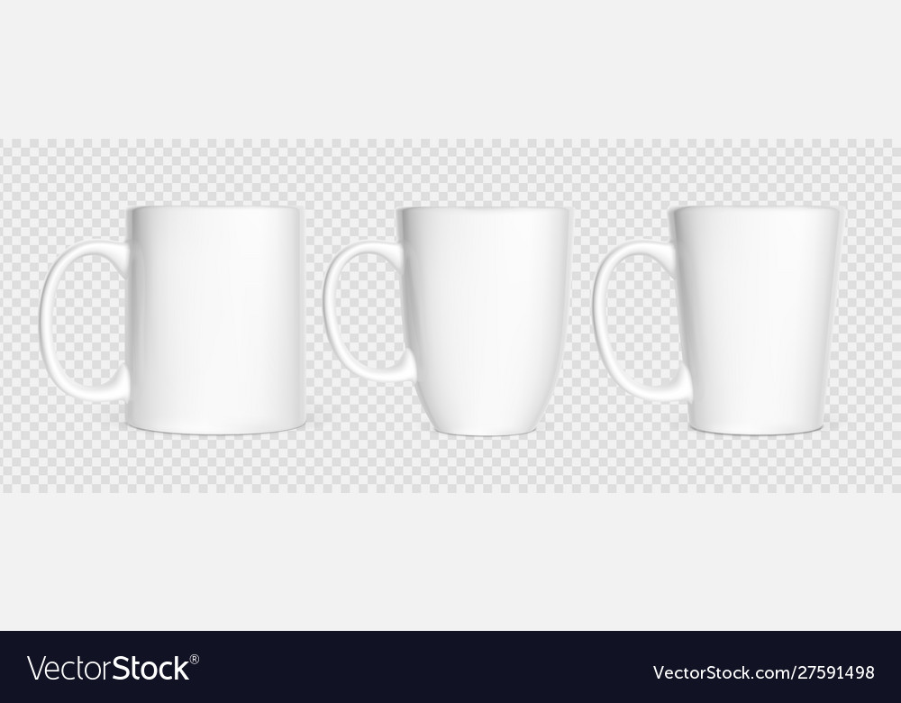 Realistic white cups isolated on white transparent