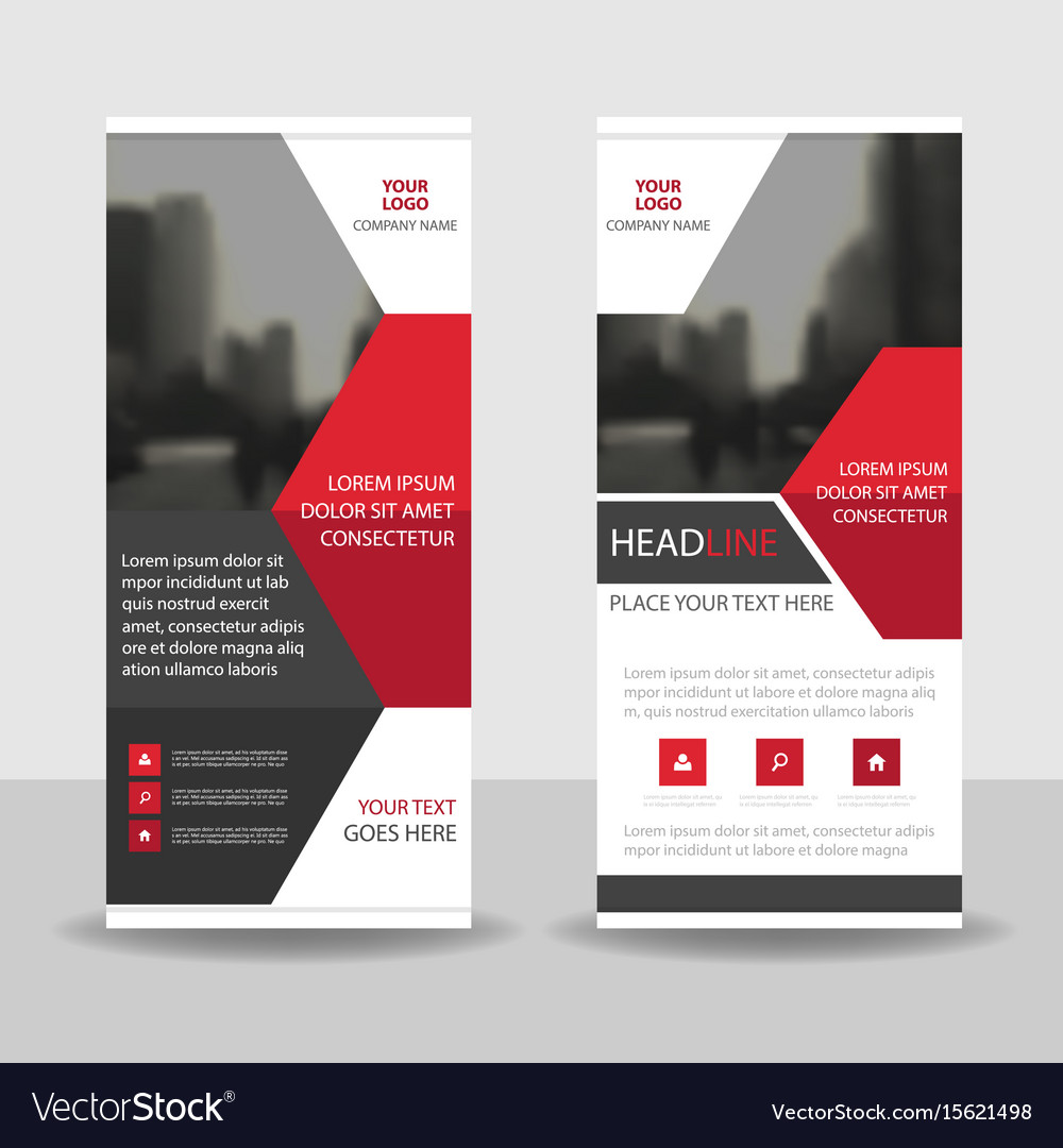 Red black business roll up banner flat design