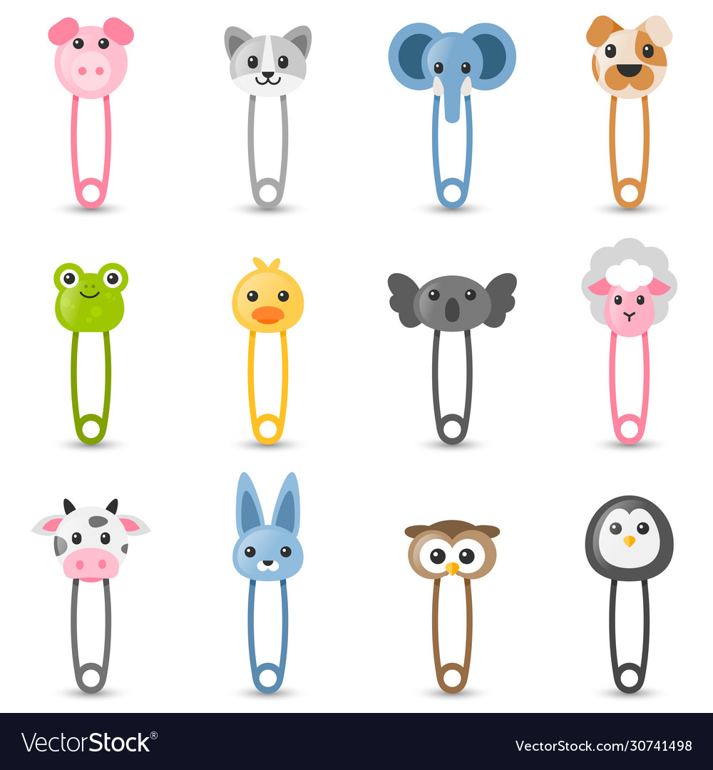 Safety pin collection with colorful animal heads