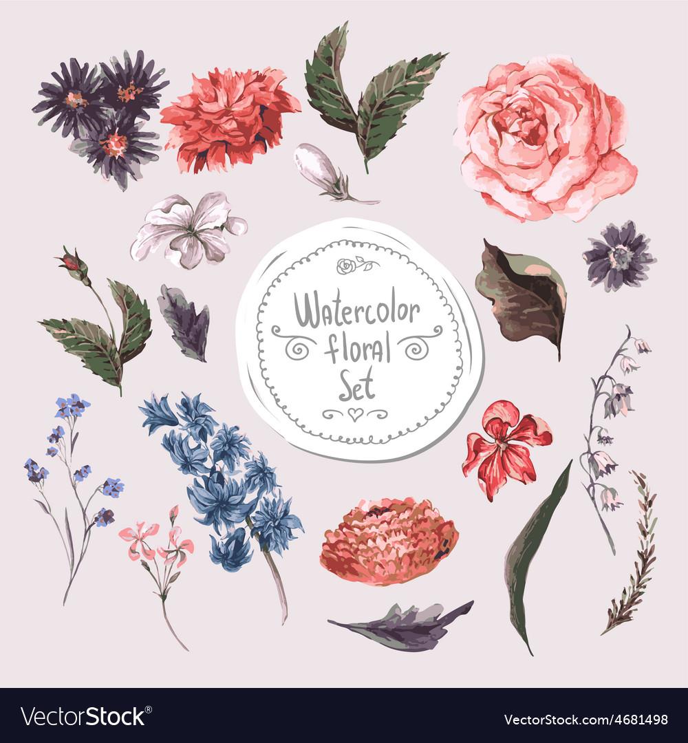 Set watercolor floral design elements roses